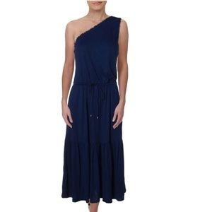 Ralph Lauren Blue One Shoulder Tiered Midi Dress